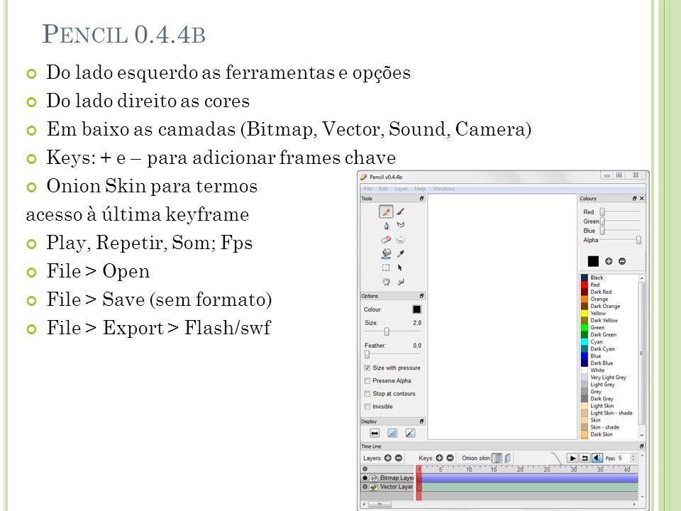 P ENCIL 0.4.4 B Do lado esquerdo as ferramentas e opções Do lado direito as cores Em baixo as camadas (Bitmap, Vector, Sound, Camera) Keys: + e – para