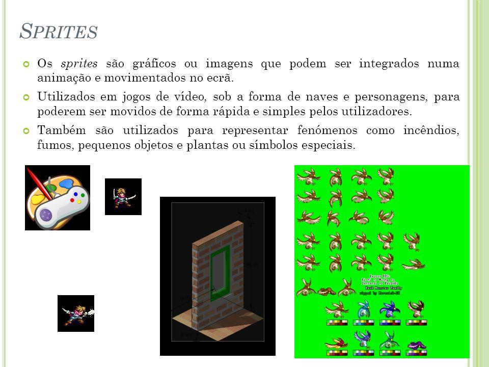 Os sprites são gráficos ou imagens que podem ser integrados numa animação e movimentados no ecrã. Utilizados em jogos de vídeo, sob a forma de naves e