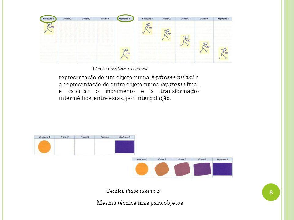 Mesma técnica mas para objetos Técnica shape tweening 8 Técnica motion tweening representação de um objeto numa keyframe inicial e a representação de