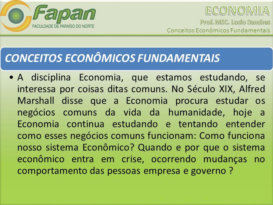 CONCEITOS ECONÔMICOS FUNDAMENTAIS A disciplina Economia, que estamos estudando, se interessa por coisas ditas comuns.