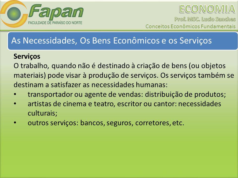 As Necessidades, Os Bens Econômicos e os Serviços Serviços O trabalho, quando não é destinado à criação de bens (ou objetos materiais) pode visar à produção de serviços.