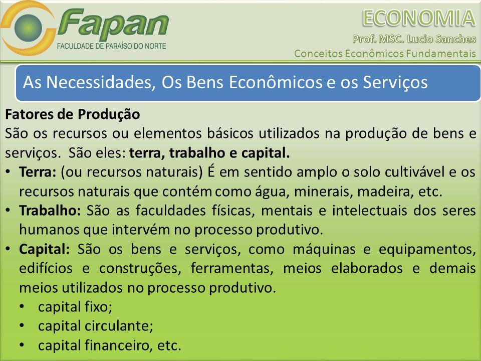 As Necessidades, Os Bens Econômicos e os Serviços Fatores de Produção São os recursos ou elementos básicos utilizados na produção de bens e serviços.