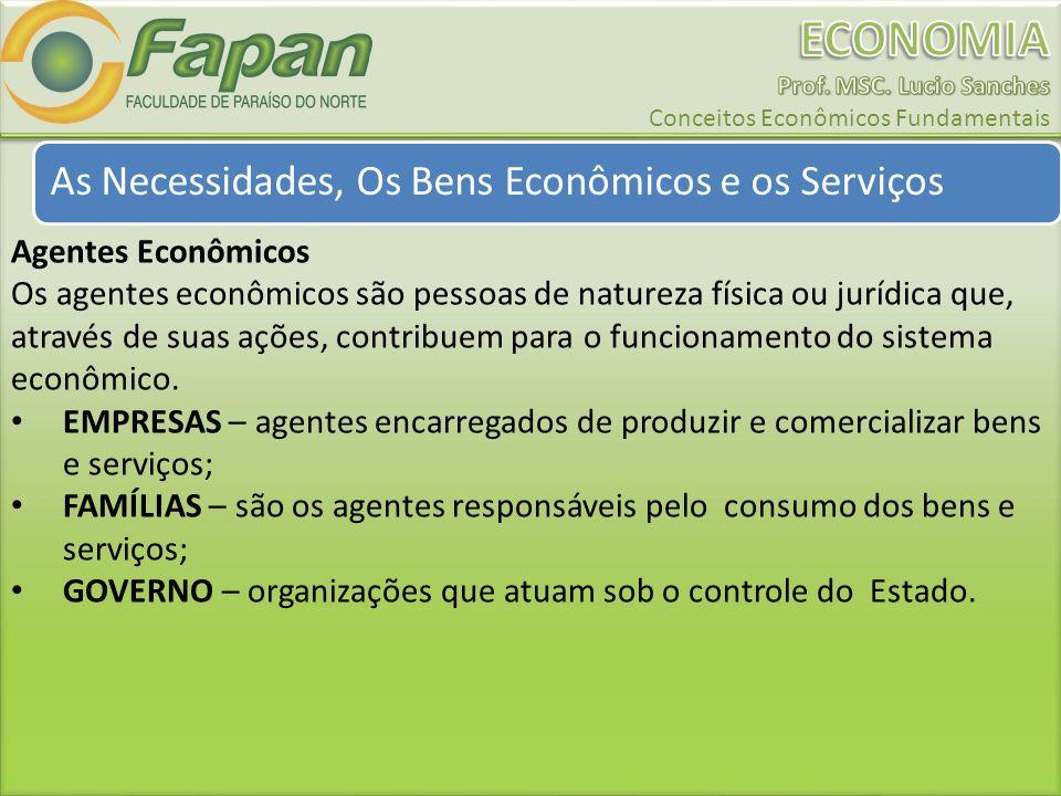 As Necessidades, Os Bens Econômicos e os Serviços Agentes Econômicos Os agentes econômicos são pessoas de natureza física ou jurídica que, através de suas ações, contribuem para o funcionamento do sistema econômico.