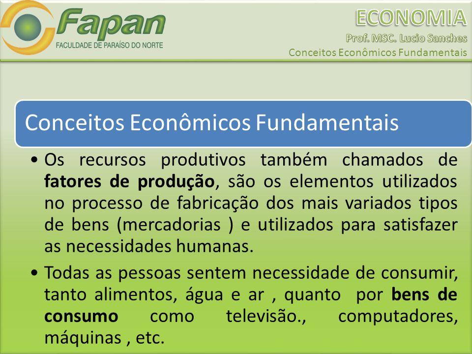 Conceitos Econômicos Fundamentais Os recursos produtivos também chamados de fatores de produção, são os elementos utilizados no processo de fabricação dos mais variados tipos de bens (mercadorias ) e utilizados para satisfazer as necessidades humanas.
