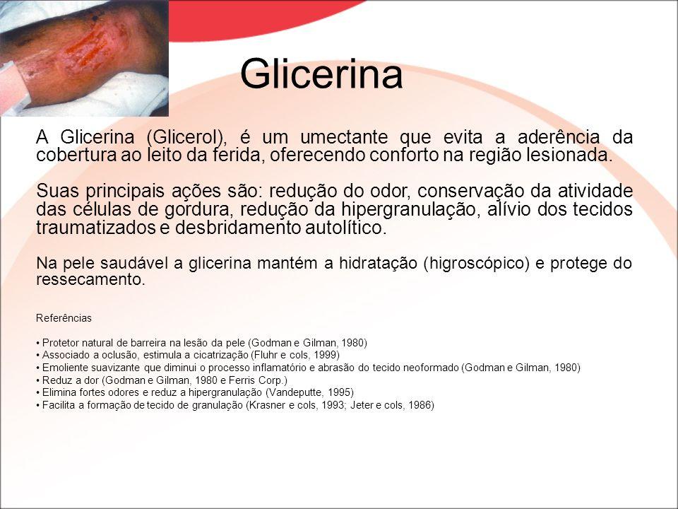 Glicerina A Glicerina (Glicerol), é um umectante que evita a aderência da cobertura ao leito da ferida, oferecendo conforto na região lesionada. Suas