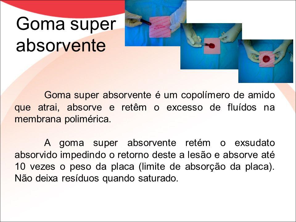 Goma super absorvente Goma super absorvente é um copolímero de amido que atrai, absorve e retêm o excesso de fluídos na membrana polimérica. A goma su