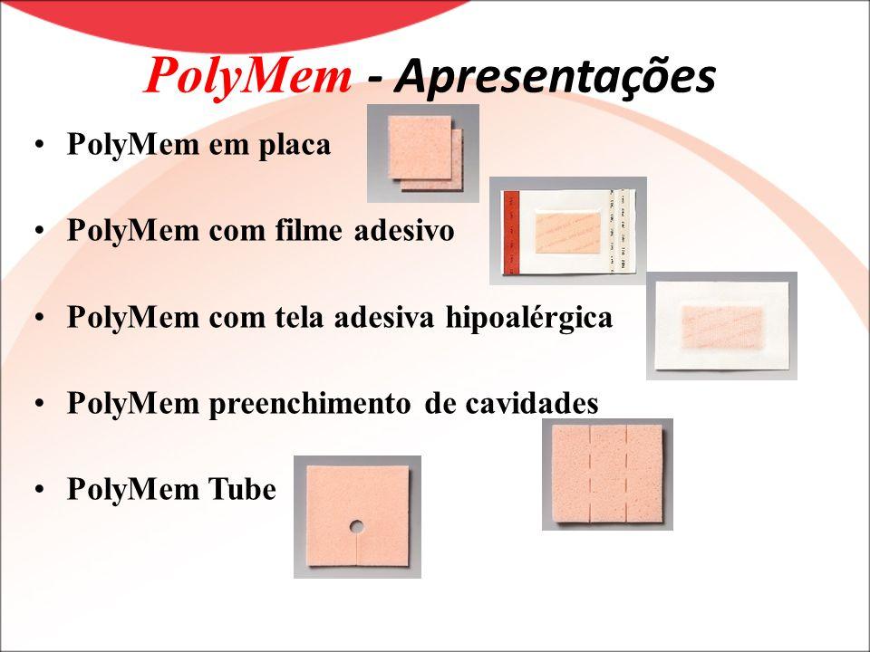 PolyMem - Apresentações PolyMem em placa PolyMem com filme adesivo PolyMem com tela adesiva hipoalérgica PolyMem preenchimento de cavidades PolyMem Tu