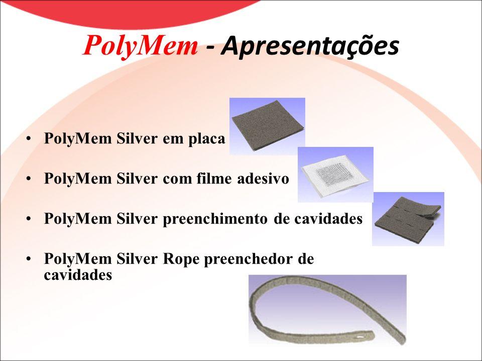 PolyMem - Apresentações PolyMem Silver em placa PolyMem Silver com filme adesivo PolyMem Silver preenchimento de cavidades PolyMem Silver Rope preench