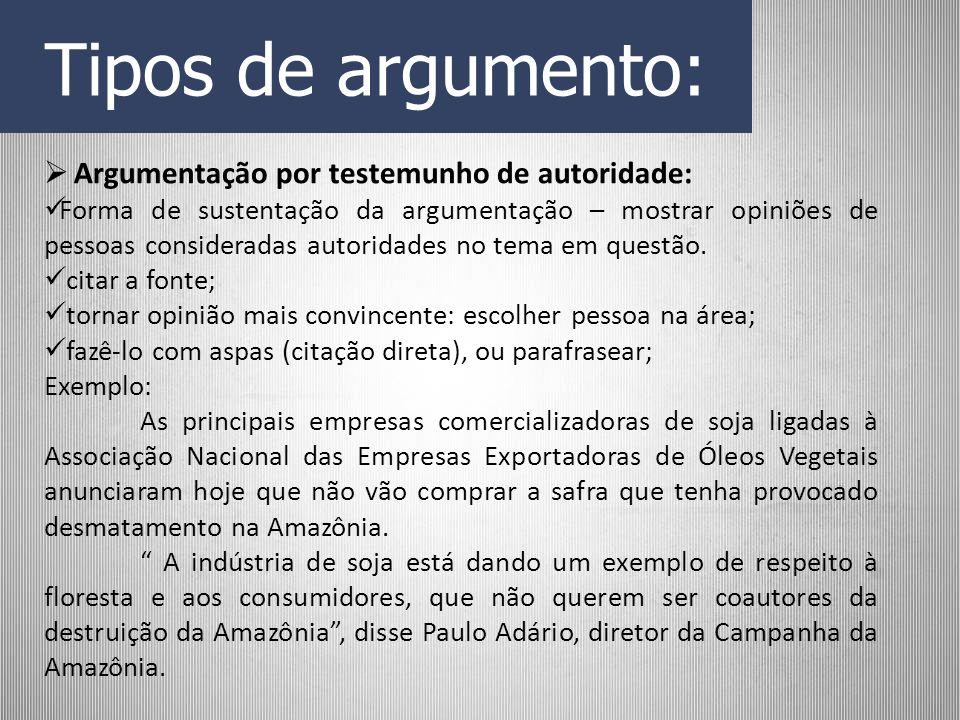 Tipos de argumento: Argumentação por testemunho de autoridade: Forma de sustentação da argumentação – mostrar opiniões de pessoas consideradas autorid