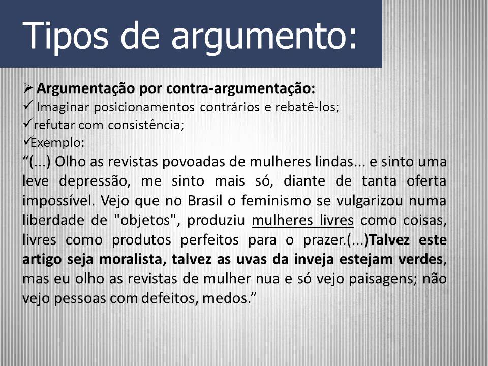 Tipos de argumento: Argumentação por contra-argumentação: Imaginar posicionamentos contrários e rebatê-los; refutar com consistência; Exemplo: (...) O