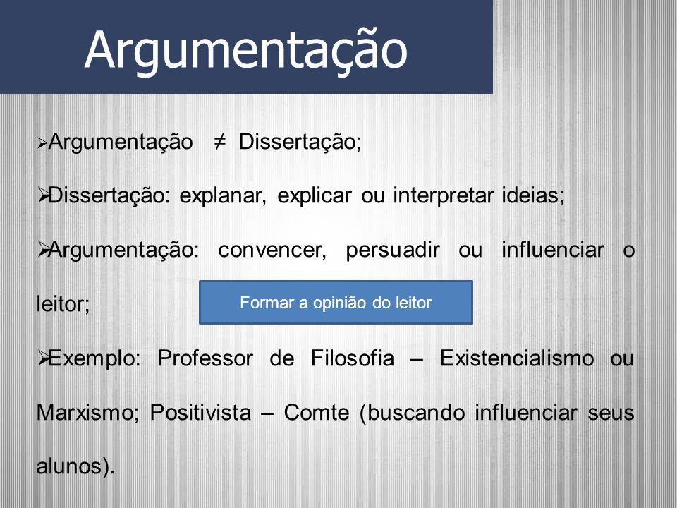Argumentação Argumentação Dissertação; Dissertação: explanar, explicar ou interpretar ideias; Argumentação: convencer, persuadir ou influenciar o leit
