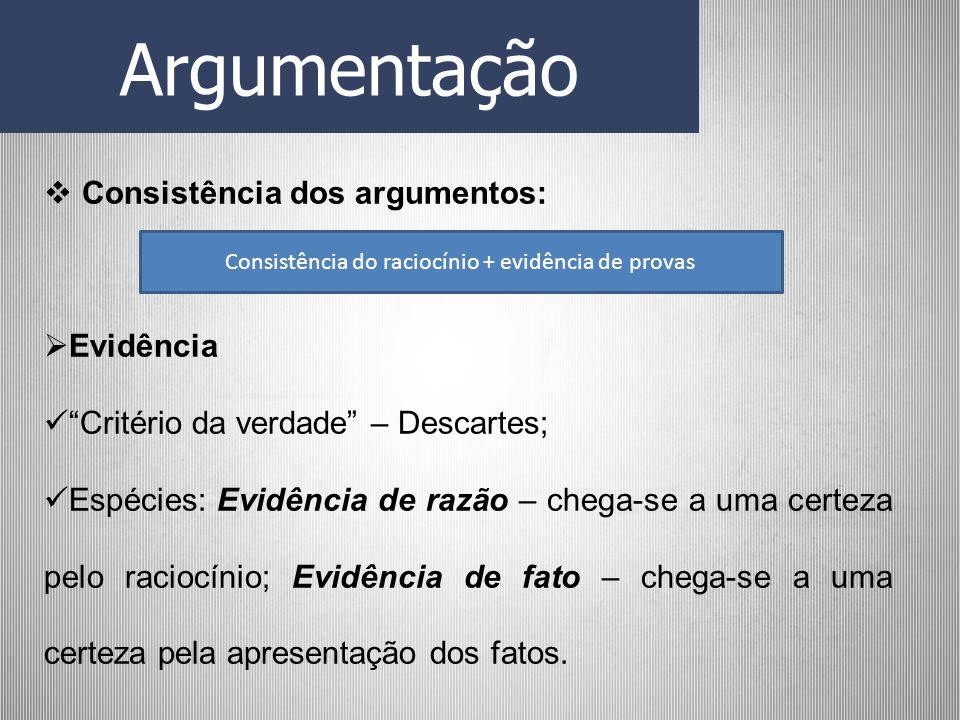 Argumentação Consistência dos argumentos: Evidência Critério da verdade – Descartes; Espécies: Evidência de razão – chega-se a uma certeza pelo racioc