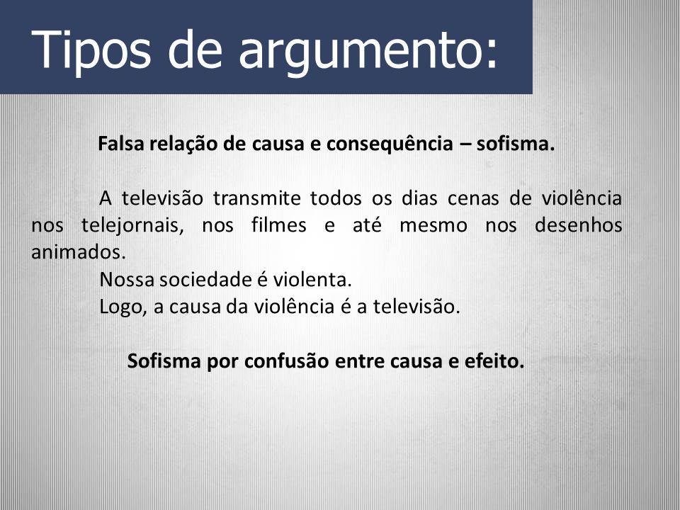 Tipos de argumento: Falsa relação de causa e consequência – sofisma. A televisão transmite todos os dias cenas de violência nos telejornais, nos filme