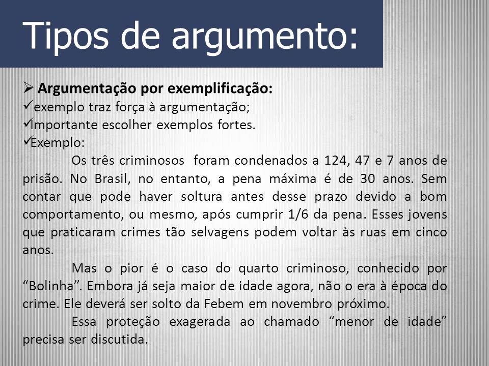 Tipos de argumento: Argumentação por exemplificação: exemplo traz força à argumentação; Importante escolher exemplos fortes. Exemplo: Os três criminos