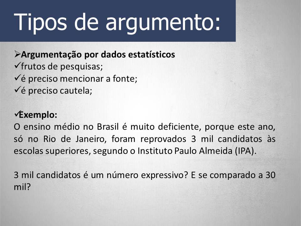 Tipos de argumento: Argumentação por dados estatísticos frutos de pesquisas; é preciso mencionar a fonte; é preciso cautela; Exemplo: O ensino médio n