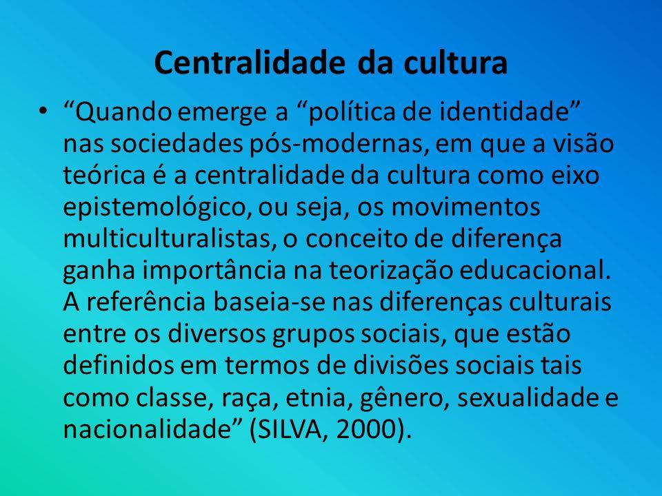 Centralidade da cultura Quando emerge a política de identidade nas sociedades pós-modernas, em que a visão teórica é a centralidade da cultura como ei