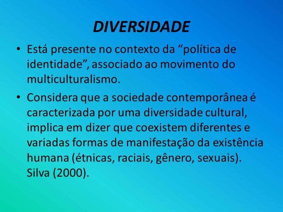DIVERSIDADE Está presente no contexto da política de identidade, associado ao movimento do multiculturalismo. Considera que a sociedade contemporânea