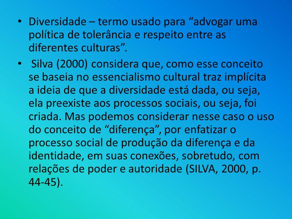 Diversidade – termo usado para advogar uma política de tolerância e respeito entre as diferentes culturas. Silva (2000) considera que, como esse conce