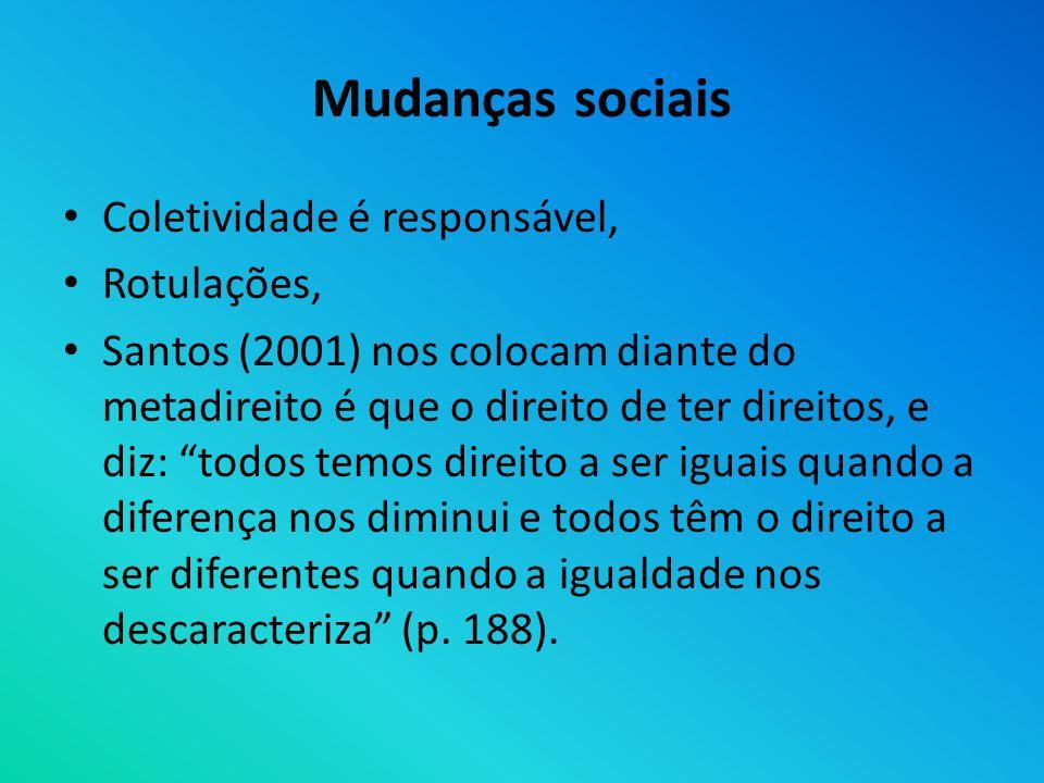 Mudanças sociais Coletividade é responsável, Rotulações, Santos (2001) nos colocam diante do metadireito é que o direito de ter direitos, e diz: todos