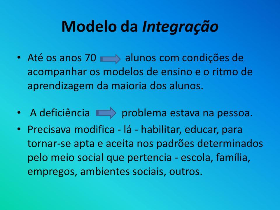 Modelo da Integração Até os anos 70 alunos com condições de acompanhar os modelos de ensino e o ritmo de aprendizagem da maioria dos alunos. A deficiê