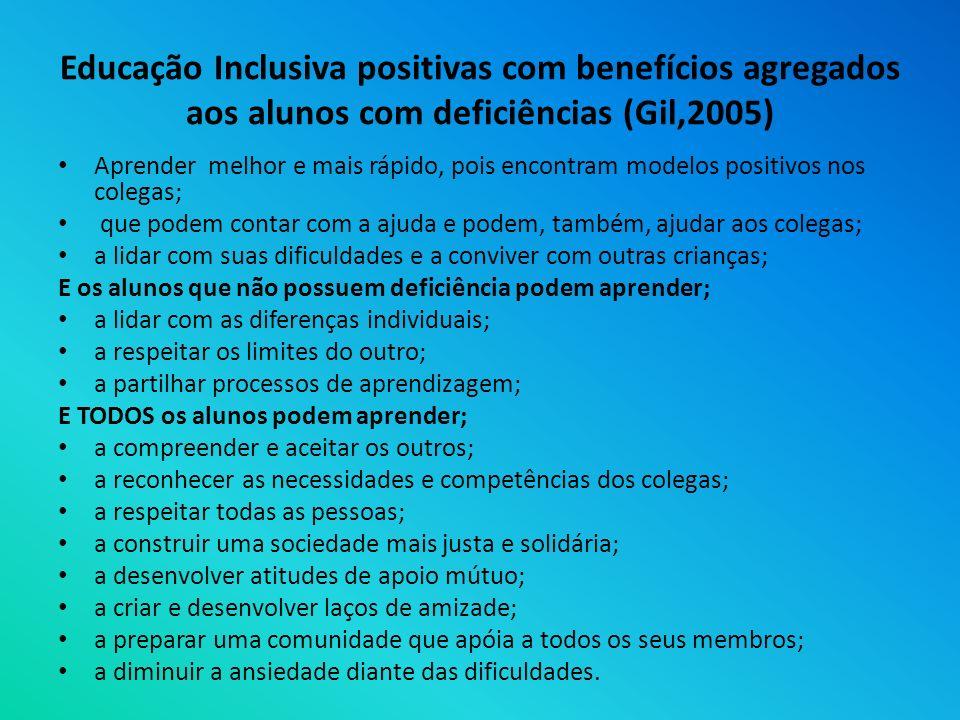 Educação Inclusiva positivas com benefícios agregados aos alunos com deficiências (Gil,2005) Aprender melhor e mais rápido, pois encontram modelos pos