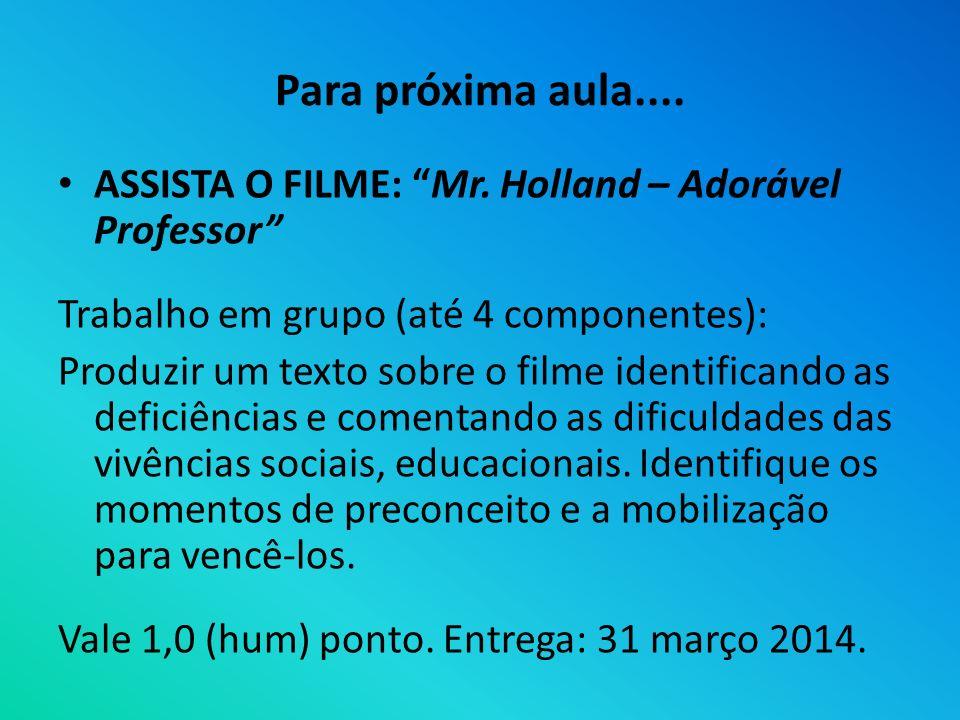 Para próxima aula.... ASSISTA O FILME: Mr. Holland – Adorável Professor Trabalho em grupo (até 4 componentes): Produzir um texto sobre o filme identif