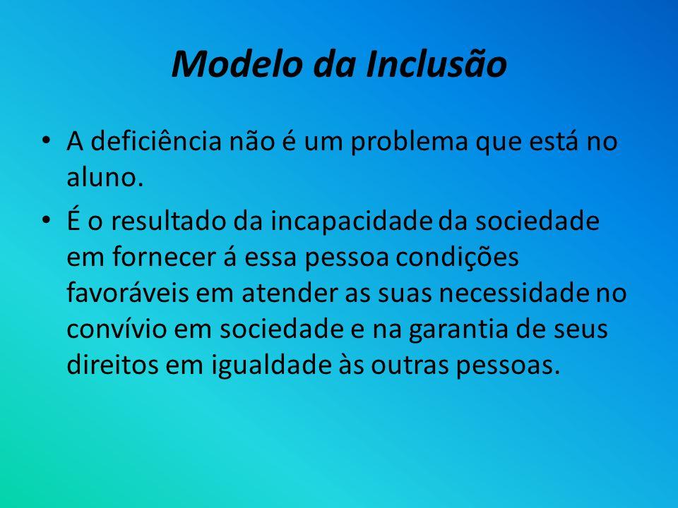 Modelo da Inclusão A deficiência não é um problema que está no aluno. É o resultado da incapacidade da sociedade em fornecer á essa pessoa condições f