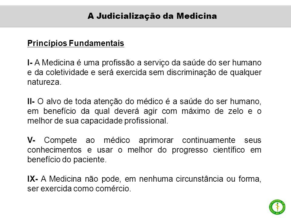 Princípios Fundamentais I- A Medicina é uma profissão a serviço da saúde do ser humano e da coletividade e será exercida sem discriminação de qualquer natureza.