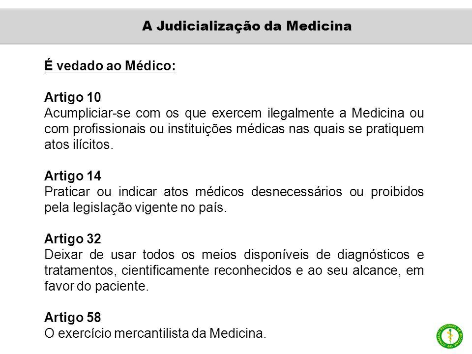 É vedado ao Médico: Artigo 10 Acumpliciar-se com os que exercem ilegalmente a Medicina ou com profissionais ou instituições médicas nas quais se pratiquem atos ilícitos.