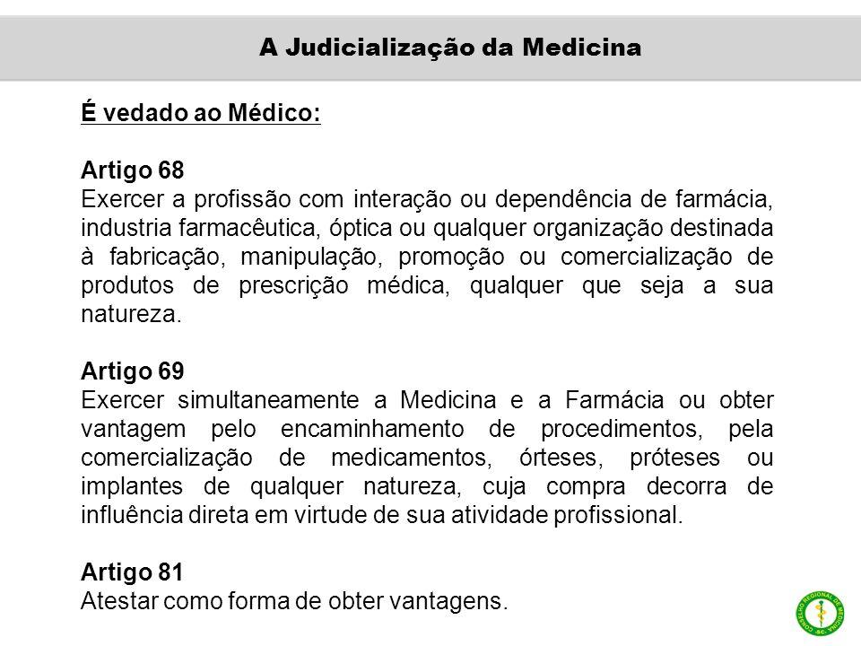 É vedado ao Médico: Artigo 68 Exercer a profissão com interação ou dependência de farmácia, industria farmacêutica, óptica ou qualquer organização des