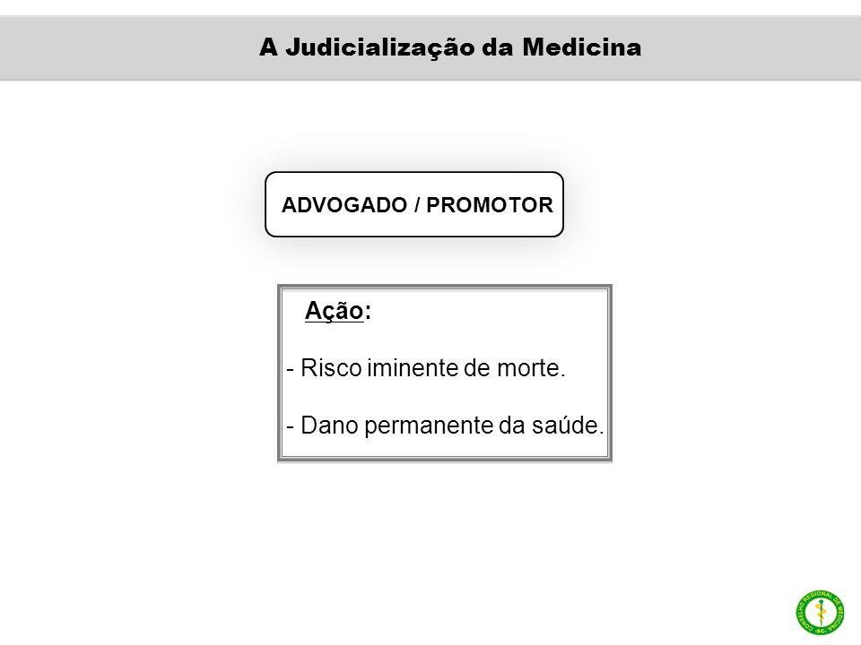 ADVOGADO / PROMOTOR Ação: - Risco iminente de morte. - Dano permanente da saúde. A Judicialização da Medicina