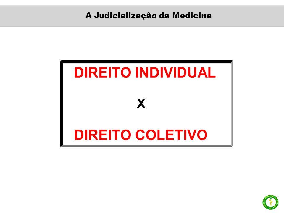 DIREITO INDIVIDUAL X DIREITO COLETIVO A Judicialização da Medicina