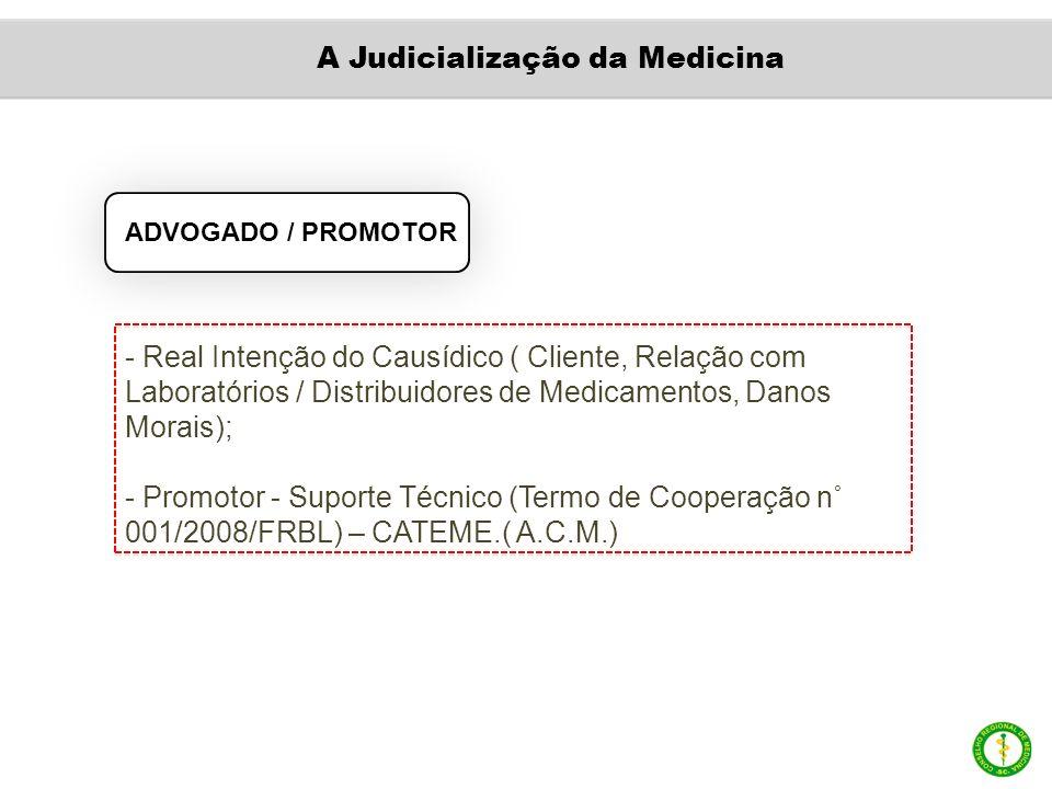 ADVOGADO / PROMOTOR - Real Intenção do Causídico ( Cliente, Relação com Laboratórios / Distribuidores de Medicamentos, Danos Morais); - Promotor - Suporte Técnico (Termo de Cooperação n˚ 001/2008/FRBL) – CATEME.( A.C.M.) A Judicialização da Medicina