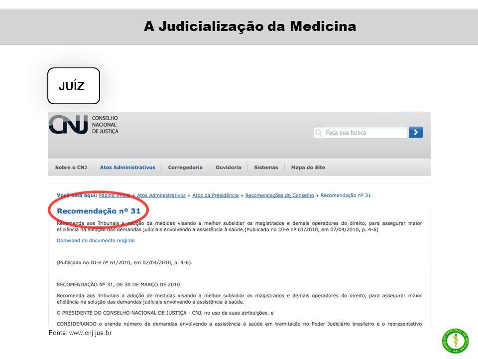 JUÍZ Fonte: www.cnj.jus.br A Judicialização da Medicina