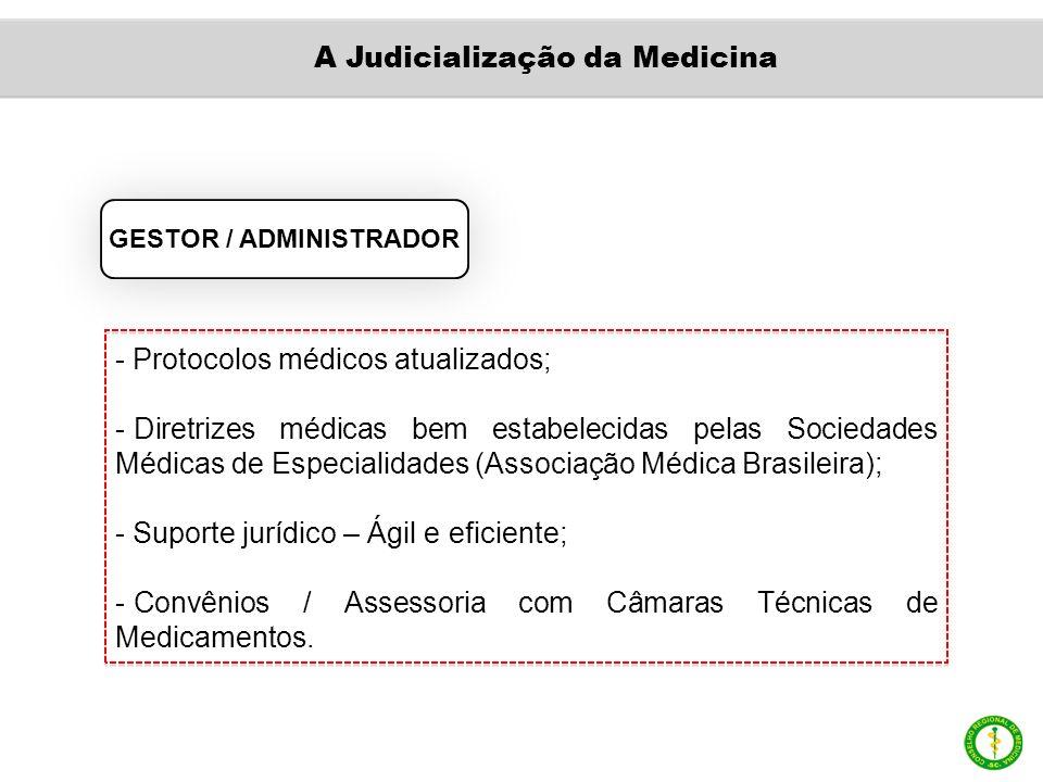 GESTOR / ADMINISTRADOR - Protocolos médicos atualizados; - Diretrizes médicas bem estabelecidas pelas Sociedades Médicas de Especialidades (Associação Médica Brasileira); - Suporte jurídico – Ágil e eficiente; - Convênios / Assessoria com Câmaras Técnicas de Medicamentos.