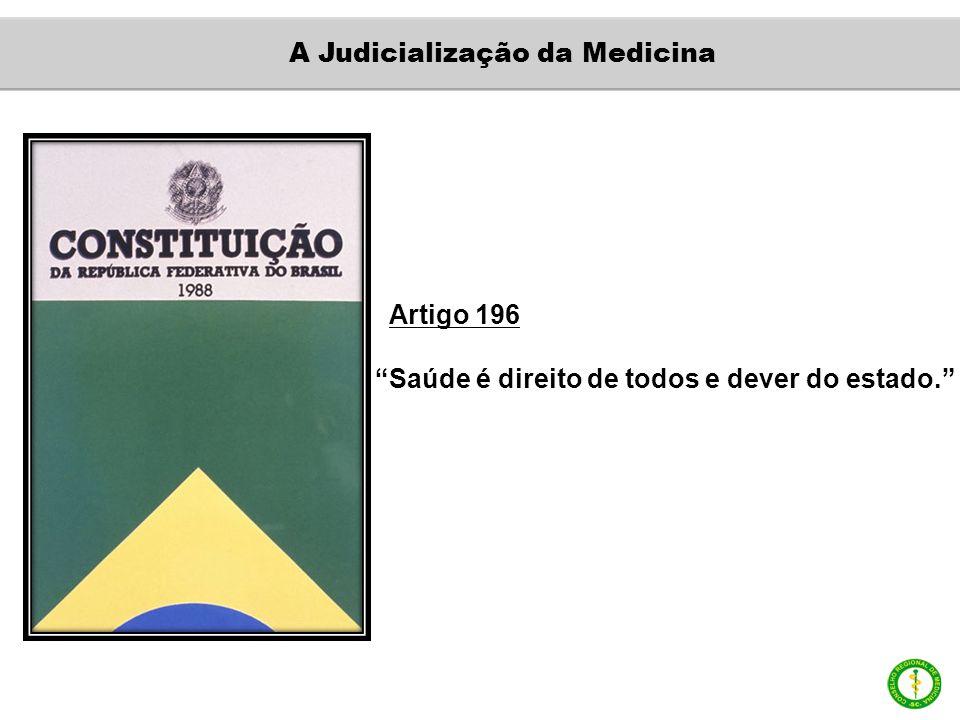 Artigo 196 Saúde é direito de todos e dever do estado. A Judicialização da Medicina