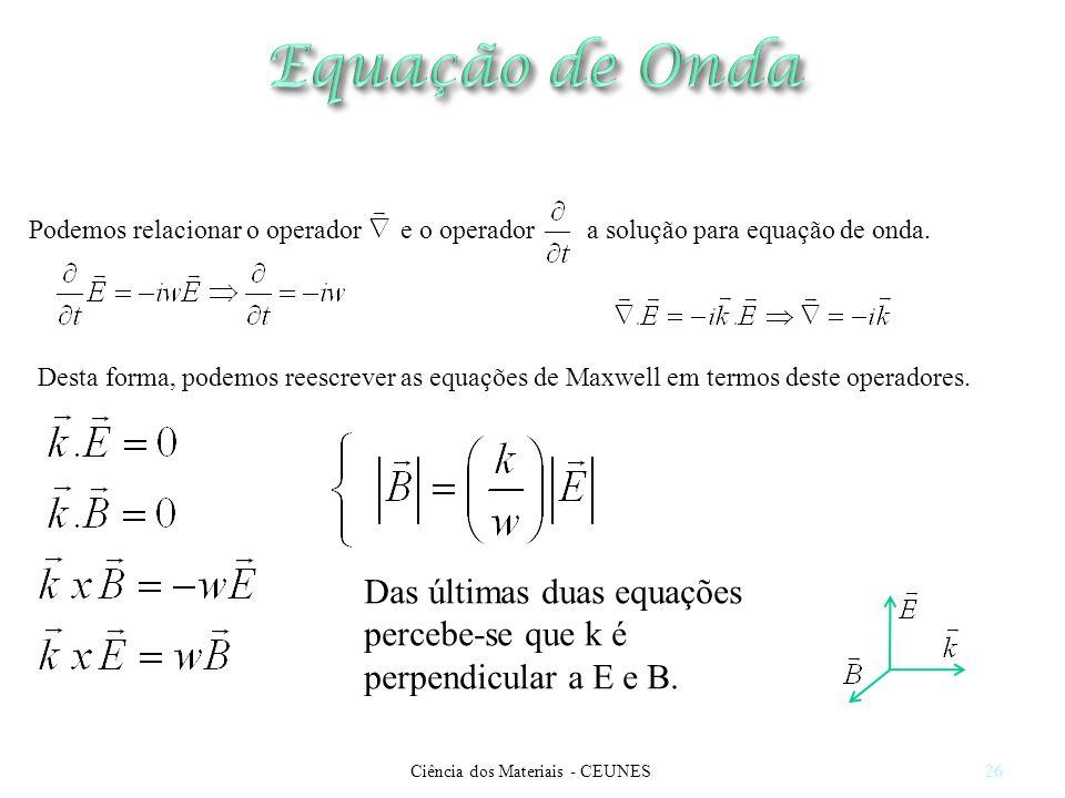 Ciência dos Materiais - CEUNES26 Podemos relacionar o operador e o operador a solução para equação de onda. Desta forma, podemos reescrever as equaçõe