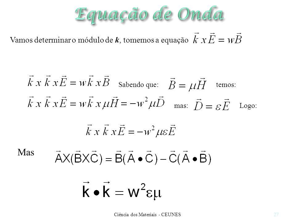 Ciência dos Materiais - CEUNES27 Sabendo que: Vamos determinar o módulo de k, tomemos a equação temos: mas:Logo: Mas