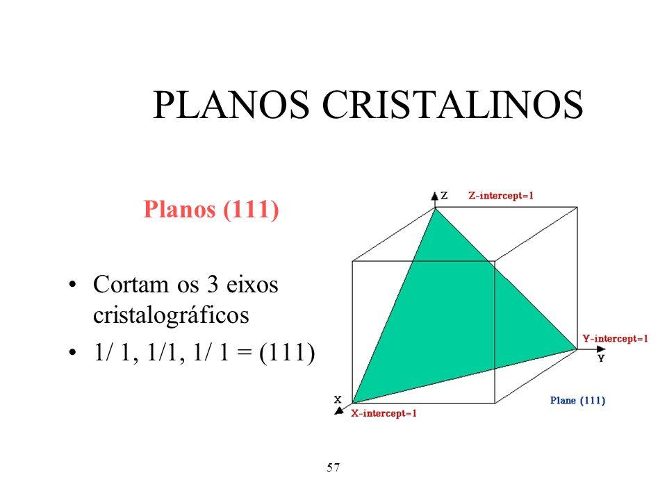 57 PLANOS CRISTALINOS Planos (111) Cortam os 3 eixos cristalográficos 1/ 1, 1/1, 1/ 1 = (111)