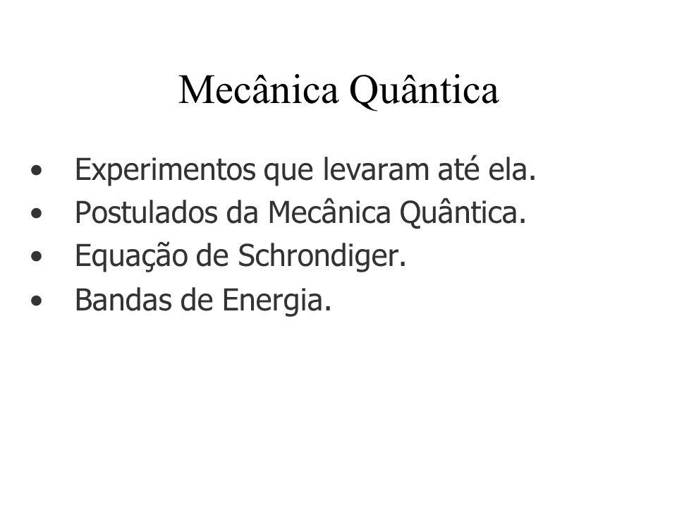 Mecânica Quântica Experimentos que levaram até ela. Postulados da Mecânica Quântica. Equação de Schrondiger. Bandas de Energia.