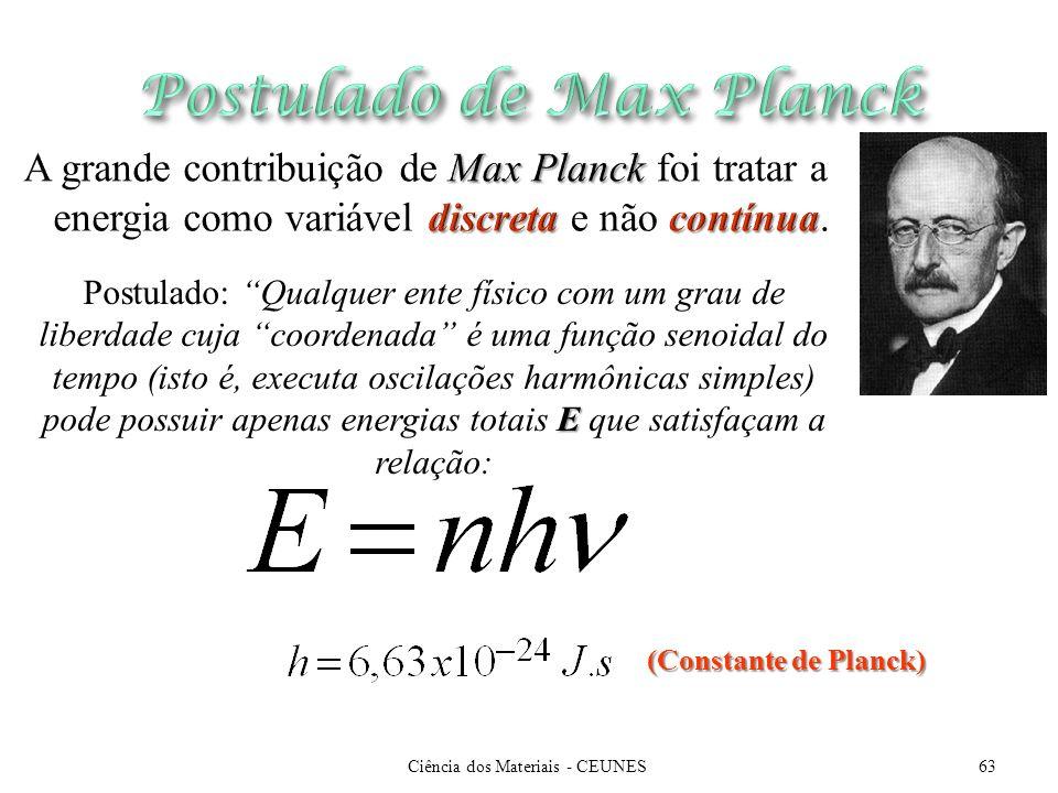 (Constante de Planck) E Postulado: Qualquer ente físico com um grau de liberdade cuja coordenada é uma função senoidal do tempo (isto é, executa oscil