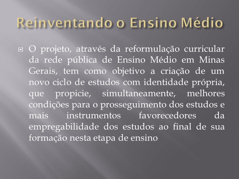 O projeto, através da reformulação curricular da rede pública de Ensino Médio em Minas Gerais, tem como objetivo a criação de um novo ciclo de estudos