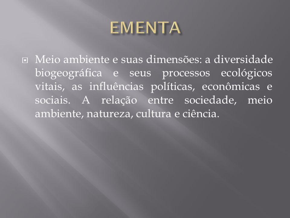Meio ambiente e suas dimensões: a diversidade biogeográfica e seus processos ecológicos vitais, as influências políticas, econômicas e sociais. A rela