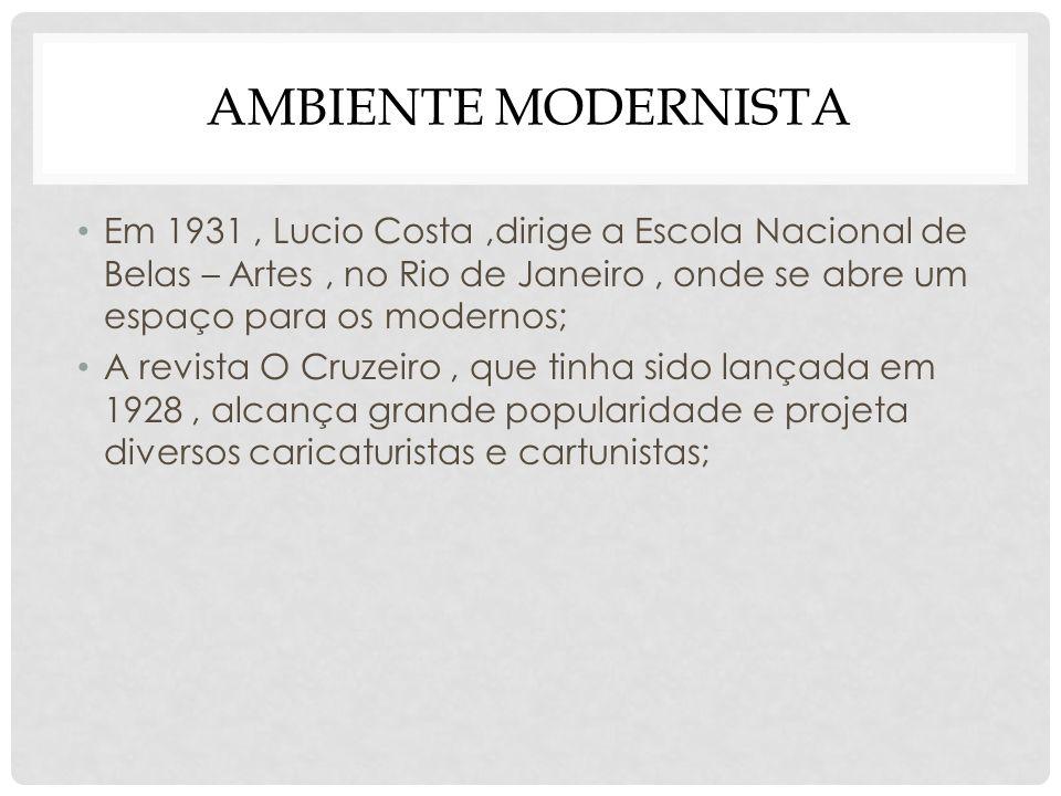 AMBIENTE MODERNISTA Em 1931, Lucio Costa,dirige a Escola Nacional de Belas – Artes, no Rio de Janeiro, onde se abre um espaço para os modernos; A revi