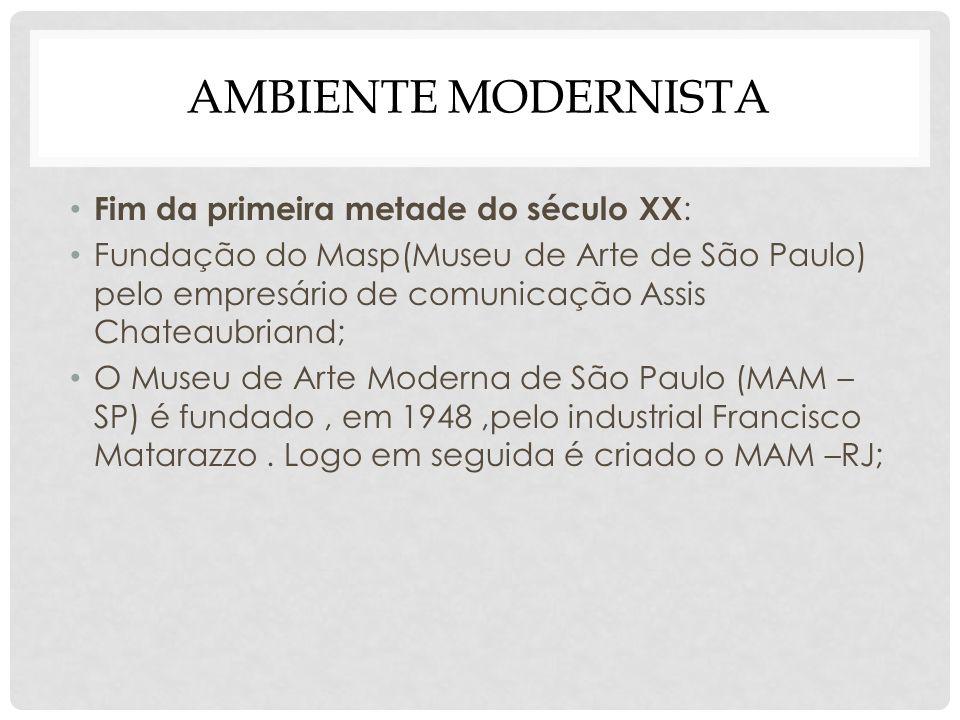 AMBIENTE MODERNISTA Fim da primeira metade do século XX : Fundação do Masp(Museu de Arte de São Paulo) pelo empresário de comunicação Assis Chateaubri