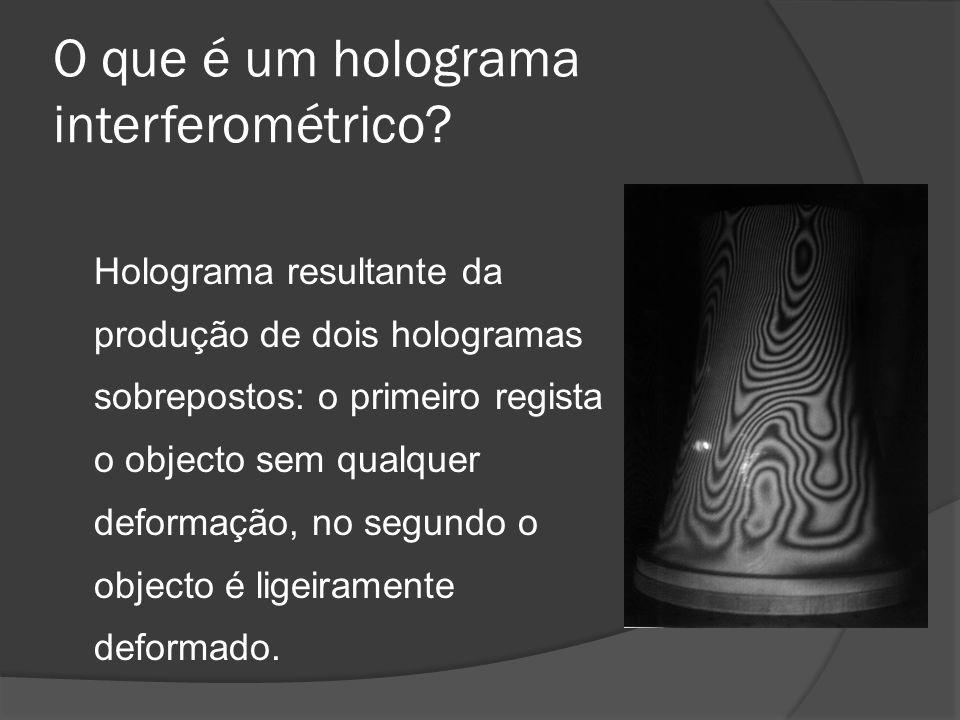 O que é um holograma interferométrico? Holograma resultante da produção de dois hologramas sobrepostos: o primeiro regista o objecto sem qualquer defo