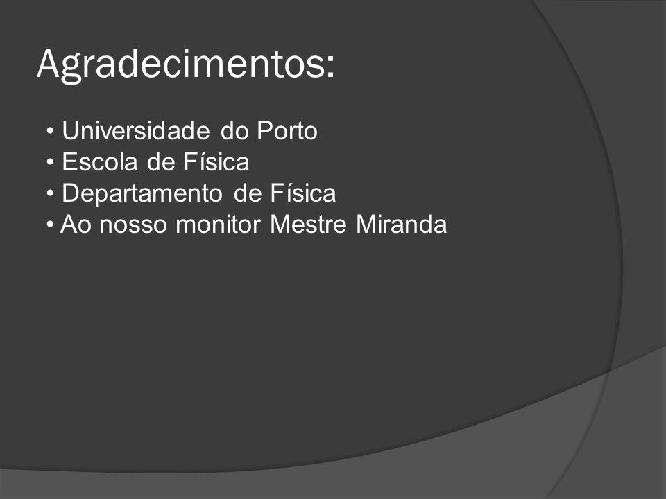 Agradecimentos: Universidade do Porto Escola de Física Departamento de Física Ao nosso monitor Mestre Miranda