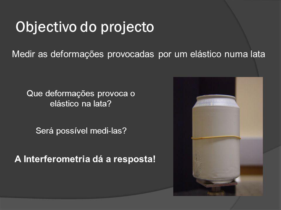 Objectivo do projecto Medir as deformações provocadas por um elástico numa lata Que deformações provoca o elástico na lata? Será possível medi-las? A