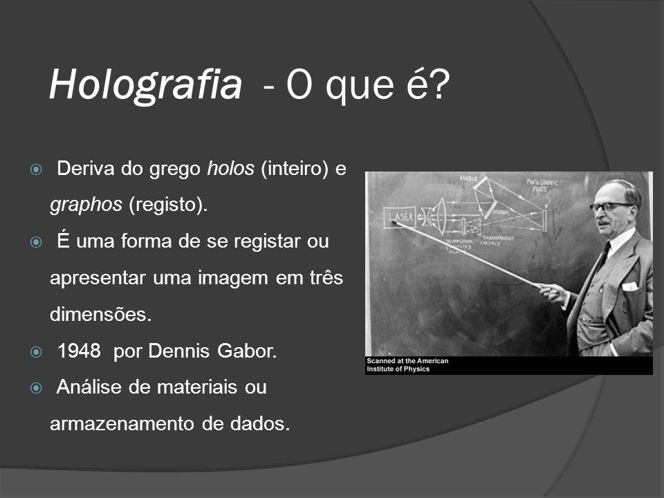 Holografia - O que é? Deriva do grego holos (inteiro) e graphos (registo). É uma forma de se registar ou apresentar uma imagem em três dimensões. 1948
