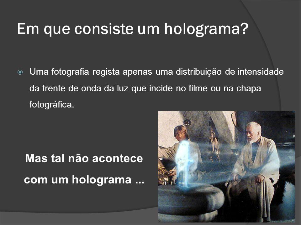 Em que consiste um holograma? Uma fotografia regista apenas uma distribuição de intensidade da frente de onda da luz que incide no filme ou na chapa f